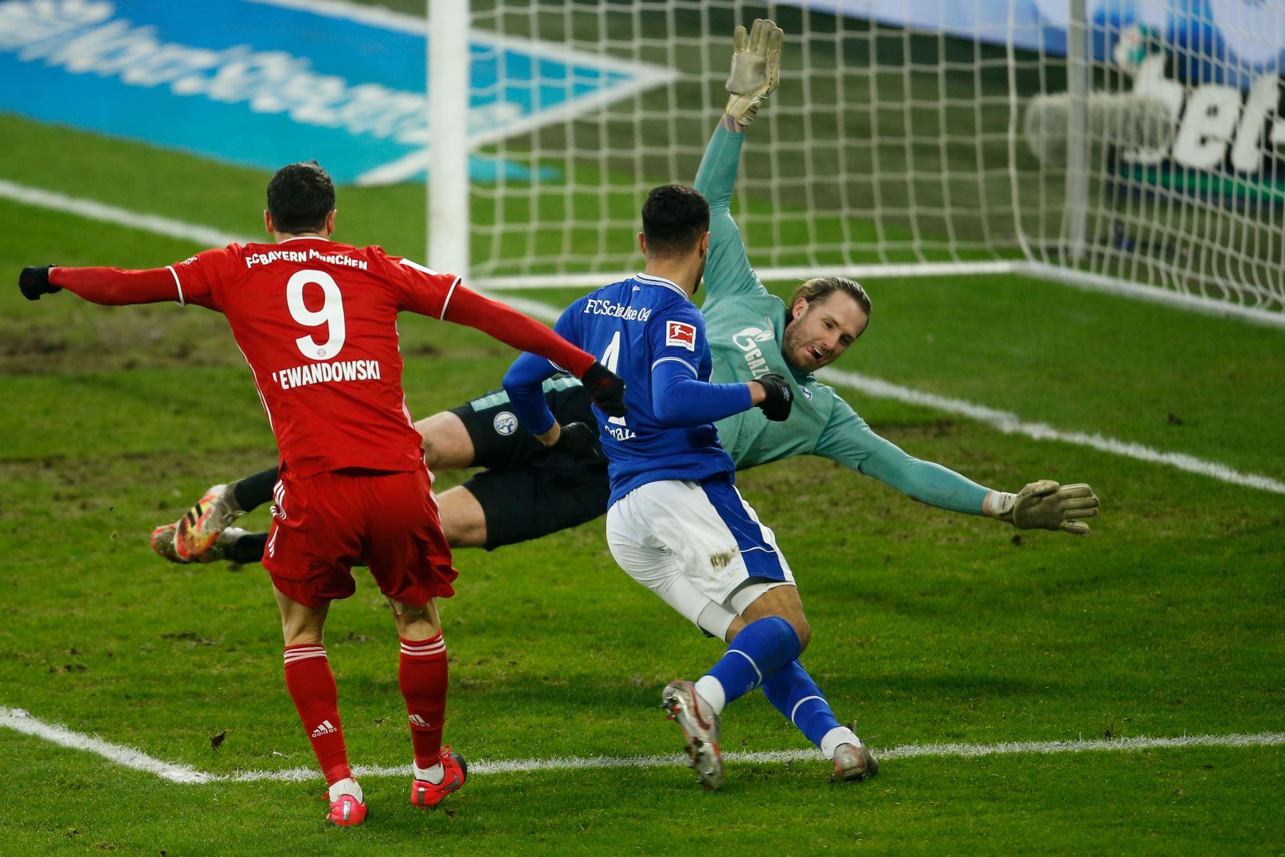 El delantero polaco del Bayern de Múnich, Robert Lewandowski, marca el gol de 0-2 durante el partido de fútbol de la primera división de la Bundesliga alemana Schalke 04 contra el FC Bayern de Múnich en Gelsenkirchen, Alemania occidental. Foto: AFP