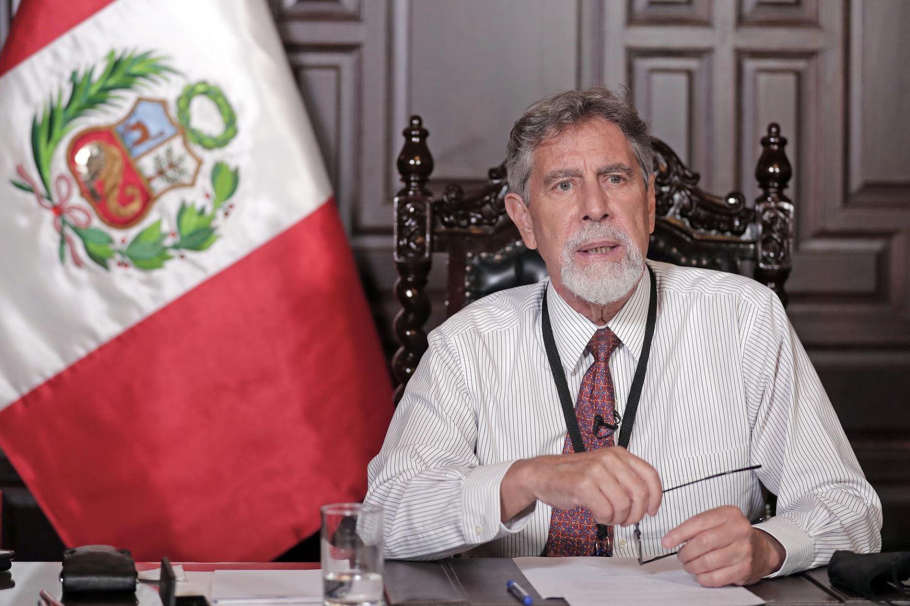 El presidente de la República, Francisco Sagasti, ofrece mensaje a la Nación. Foto: ANDINA/Prensa Presidencia
