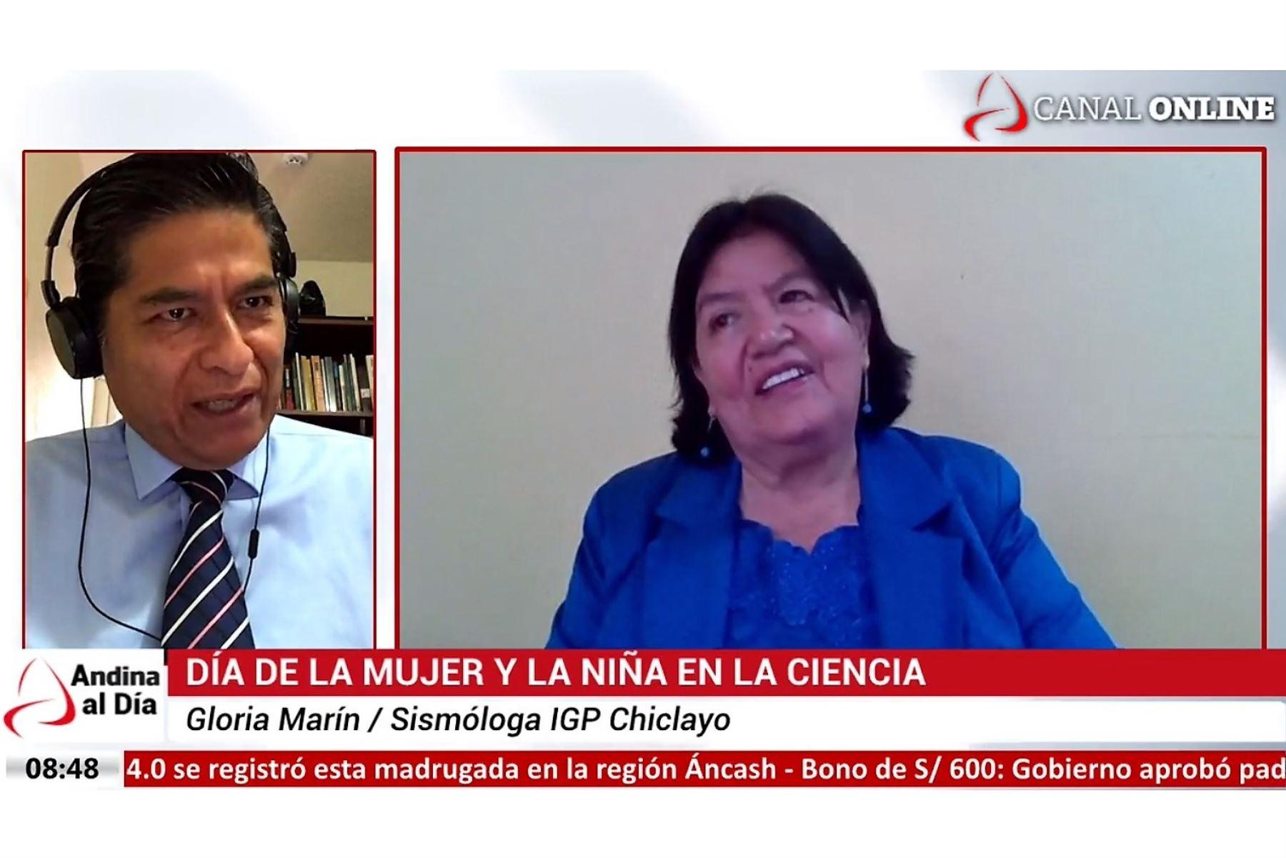 Científica Gloria Marín Ruiz brinda una entrevista a la agencia Andina con ocasión del Día Internacional de la Mujer y la Niña en la Ciencia.