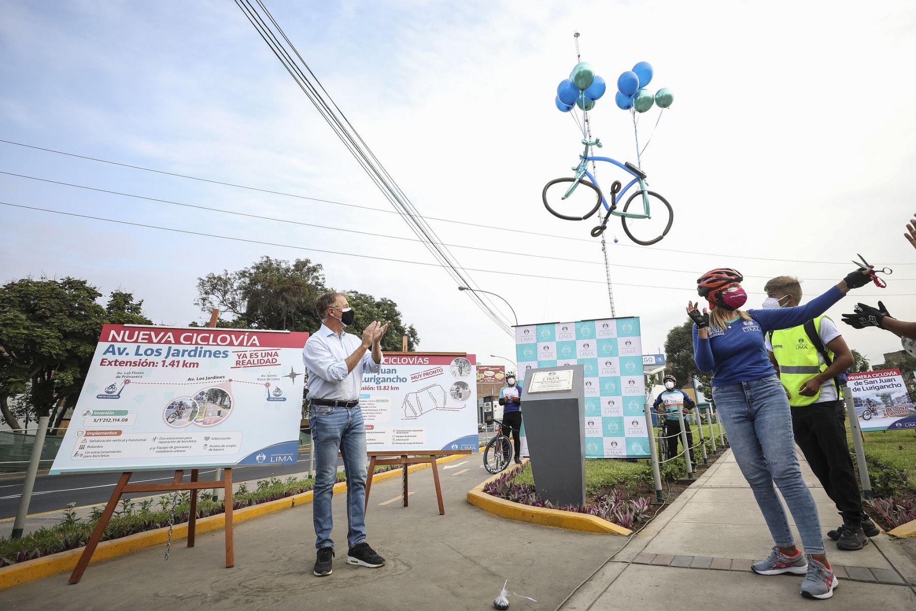 Alcalde Jorge Muñoz inaugura ciclovía de Avenida Los Jardines en San Juan de Lurigancho.  Foto: ANDINA/Municipalidad de Lima