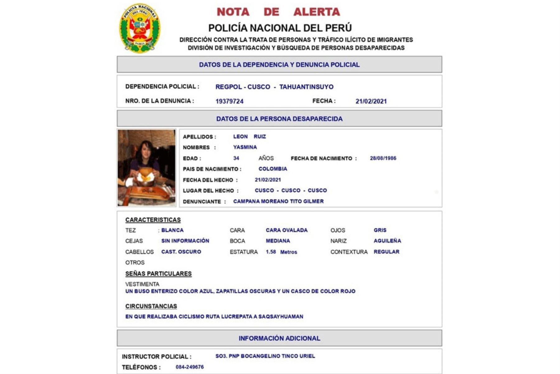 policia-reporta-desaparicion-de-ciudadana-colombiana-cuando-se-dirigia-a-sacsayhuaman
