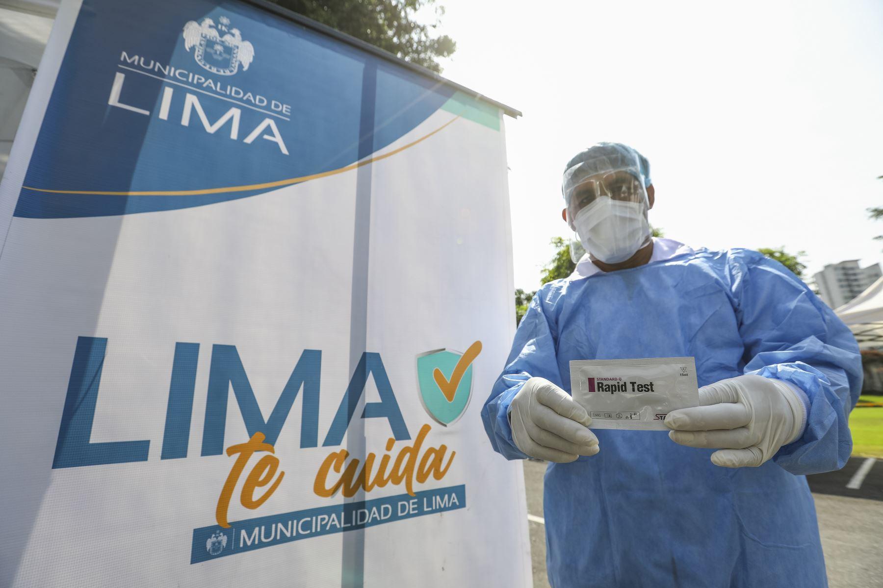 Municipalidad de Lima, a través de Sisol Salud, realiza campaña Lima Te Cuida, con el objetivo de seguir velando por la salud de la población y realizar pruebas de descarte COVID-19 en el Parque de las Aguas. Foto: ANDINA/Municipalidad de Lima