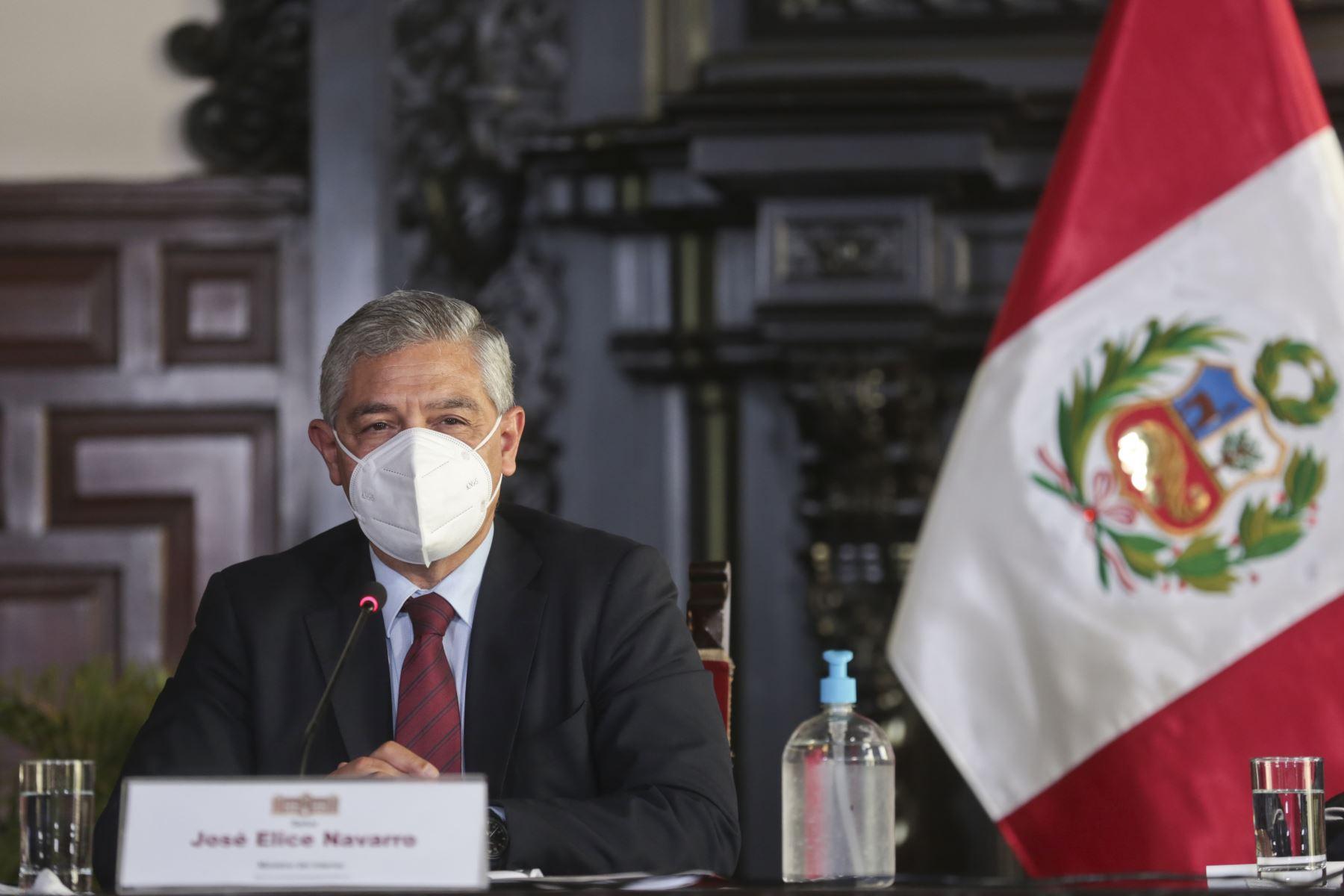 Ministro del Interior, José Elice brinda conferencia de prensa. Foto: PCM