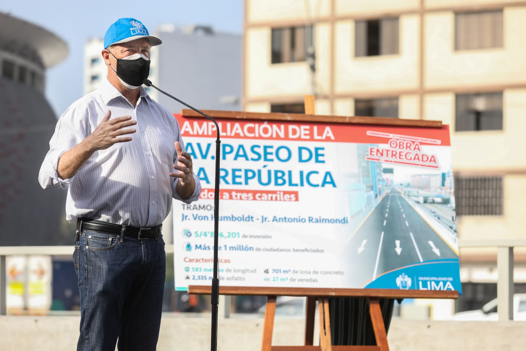 El alcalde de Lima, Jorge Muñoz, inaugurará la ampliación de un nuevo tramo de la Av. Paseo de la República, en el límite de los distritos de La Victoria y el Cercado.  Foto: ANDINA/Municipalidad de Lima