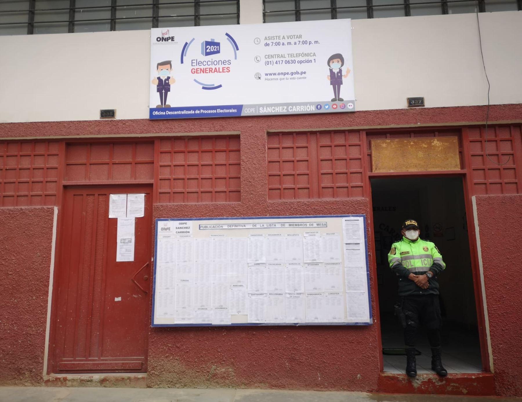 La ONPE designó 74 locales de votación para la ODPE Sánchez Carrión, cuya jurisdicción comprende a la provincia del mismo nombre, Santiago de Chuco y Bolívar, región La Libertad.