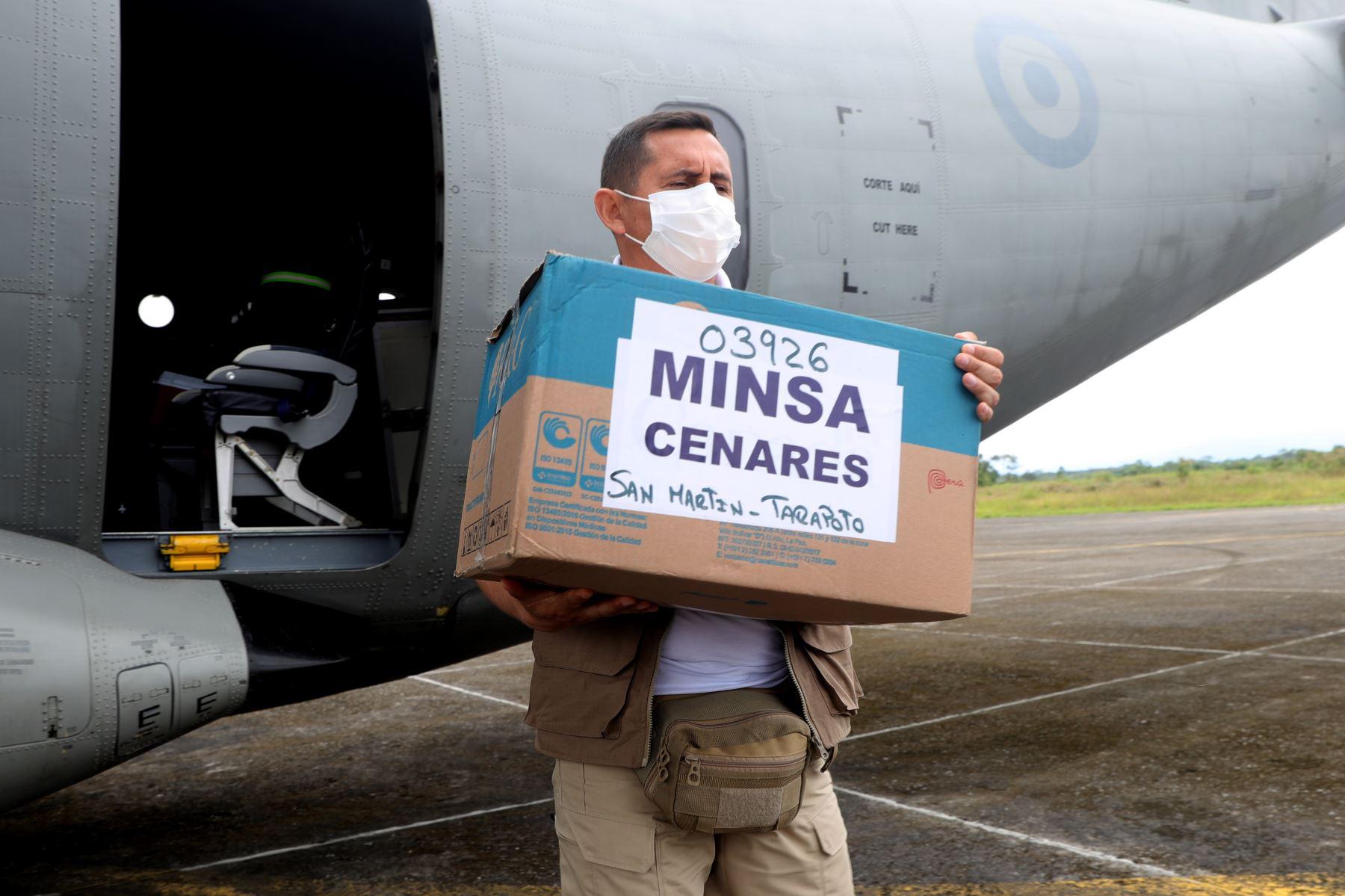 El presidente Francisco Sagasti llega a la región San Martín para la entrega de equipamiento médico, supervisión al hospital de Rioja y visita a la granja ganadera de Calzada. Foto: ANDINA/Prensa Presidencia