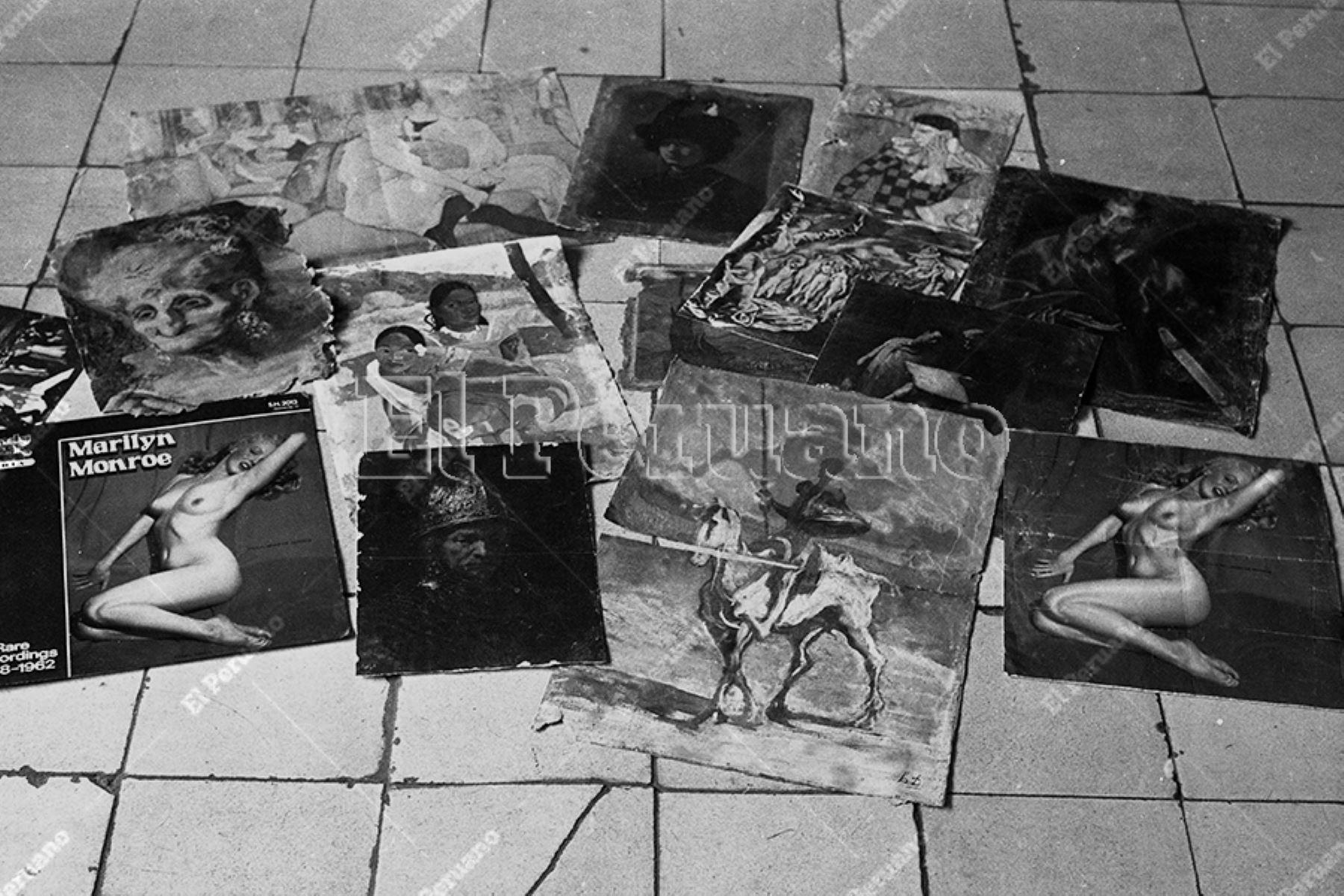Lima - 19 noviembre 1988 / Revistas y pinturas que el pintor Víctor Humareda conservaba en la habitación 283 del Hotel Lima de La Parada.  Foto: Archivo Histórico de EL PERUANO / Alan Ramírez