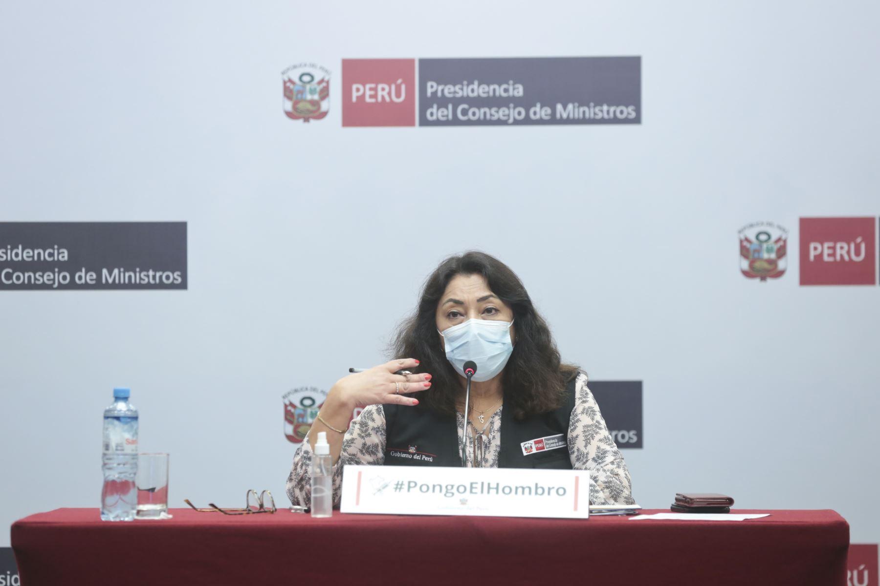 Presidenta del Consejo de Ministros, Violeta Bermúdez brinda conferencia de prensa sobre la efectividad de la vacuna de Sinopharm. Foto: PCM