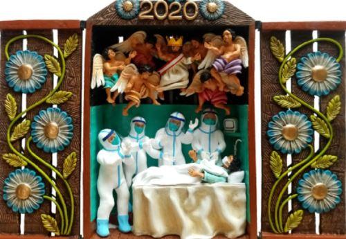Un conmovedor homenaje al personal de salud que lucha sin tregua contra el nuevo coronavirus en nuestro país, es lo que han hecho los reconocidos artistas y hermanos Luis y Reynaldo Quispe Flores, al incluir a los máximos héroes de la cruzada contra la pandemia como nuevos protagonistas del Retablo Ayacuchano, Patrimonio Cultural del Perú. Foto: Facebook/Rey Retablos