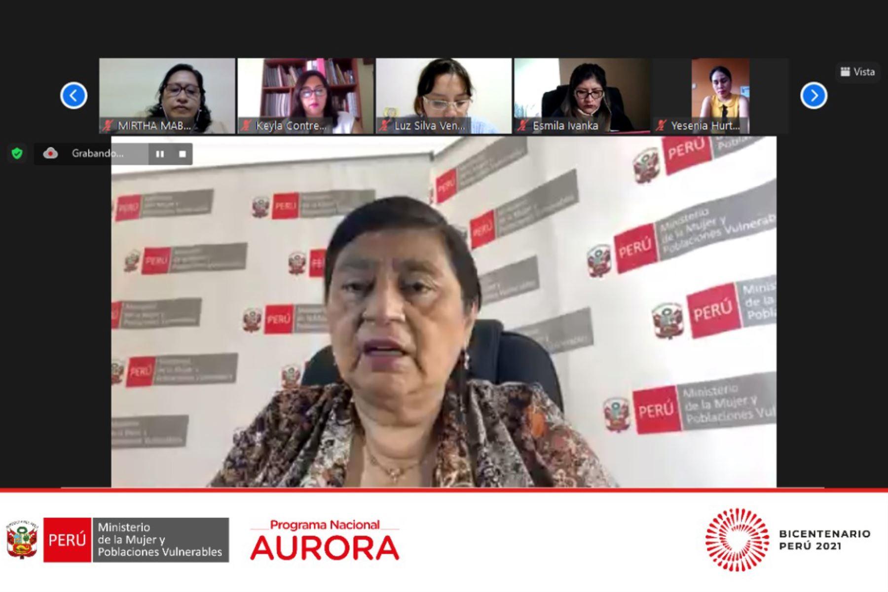Ministra de la Mujer, Silva Loli, en reunión virtual con autoridades y líderes sociales del Cusco. ANDINA/Difusión