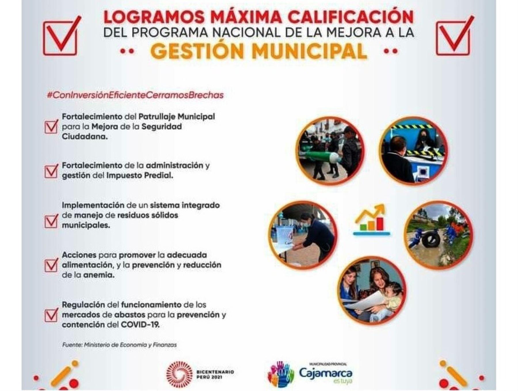 Municipalidad de Cajamarca logra metas de gestión establecidas por el MEF y recibirá cerca de S/ 5 millones adicionales, afirma su alcalde Andrés Villar. ANDINA/Difusión