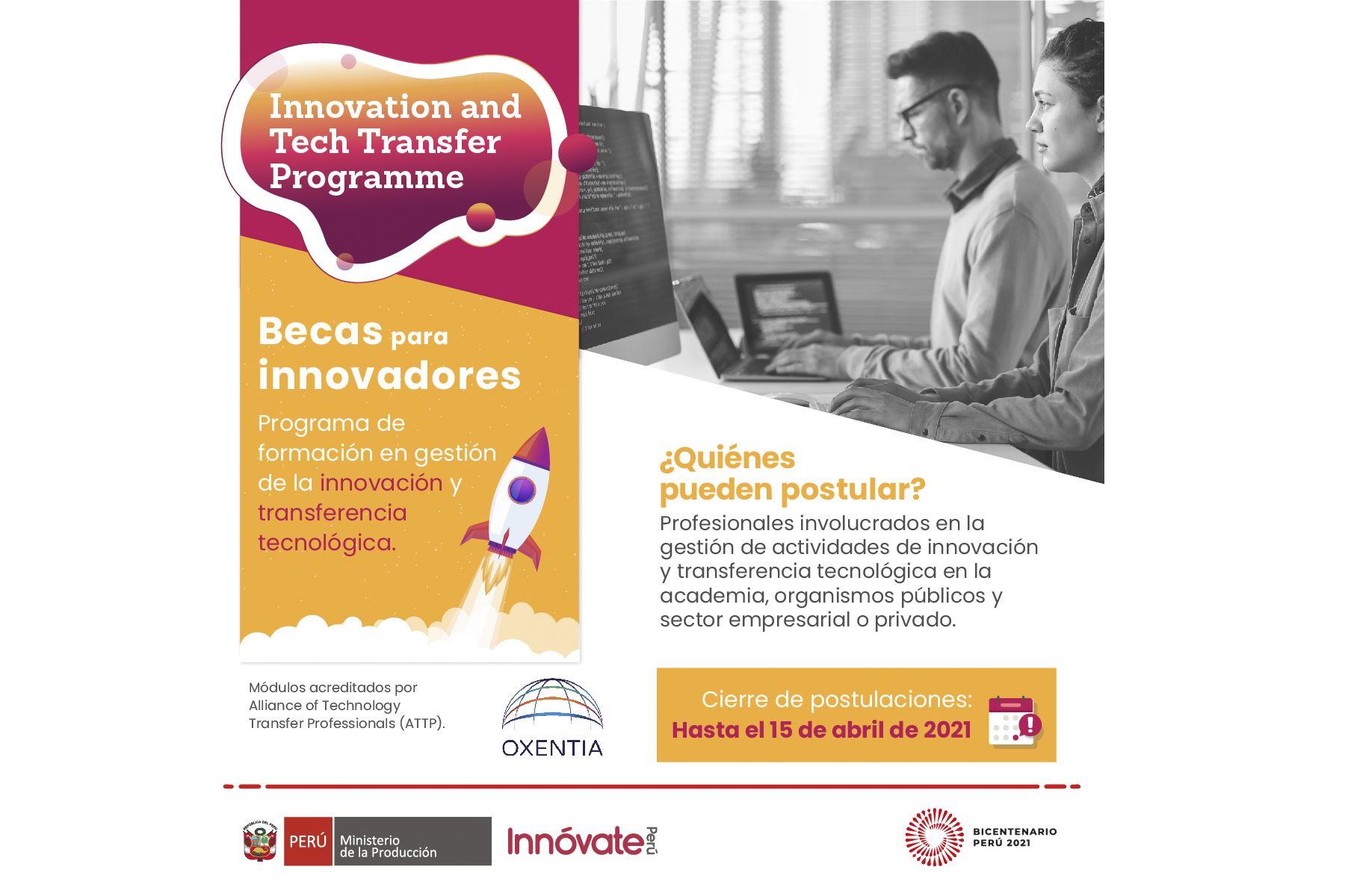 Innóvate Perú lanza becas al Programa de Innovación y Transferencia Tecnológica.