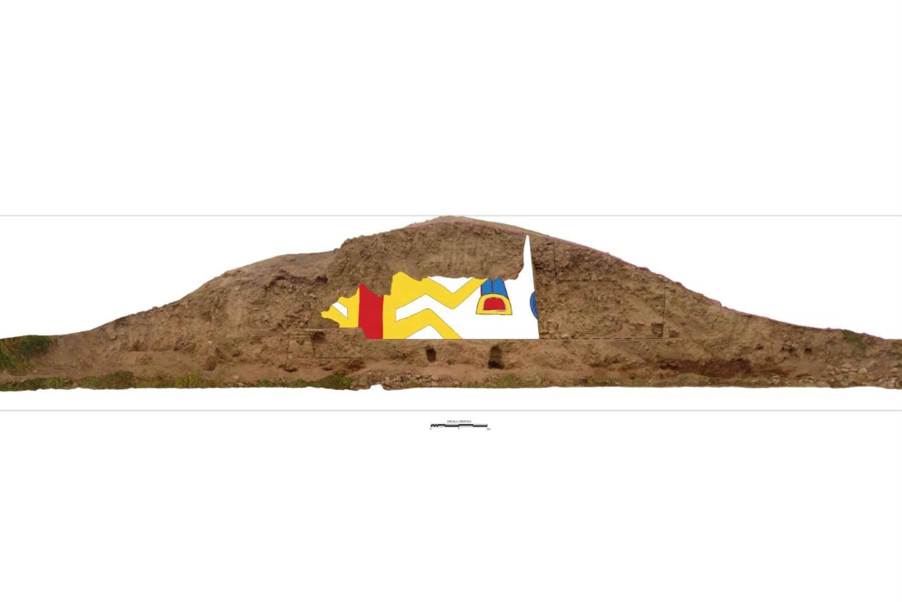 En medio de cultivos de palta y caña de azúcar, en el corazón del valle de la provincia de Virú, región La Libertad, se encuentra una huaca en cuya fachada sur exhibe una pintura mural de más de más de 3,200 años de antigüedad que pertenecería a la cultura Cupisnique. Foto: Feren Castilla