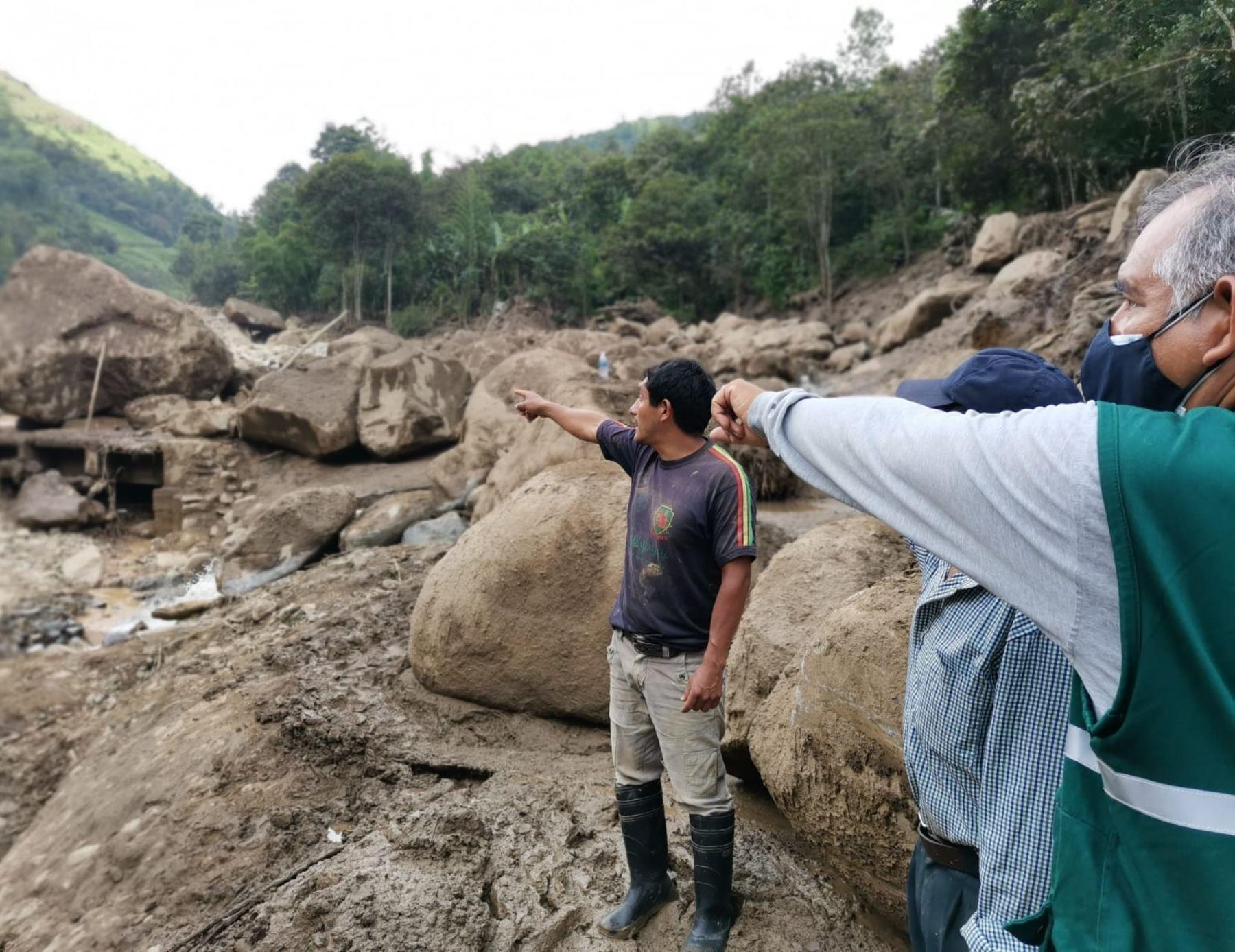 Brigadas del Minagri ejecutan acciones de atención de emergencia en distrito piurano de Canchaque, en Piura, donde un deslizamiento causó cuantiosos daños en la zona.