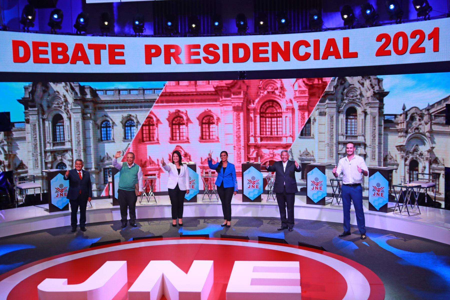 Fotografía oficial del debate de candidatos presidenciales organizado por el Jurado Nacional de Elecciones. Foto: ANDINA/ Carla Patiño