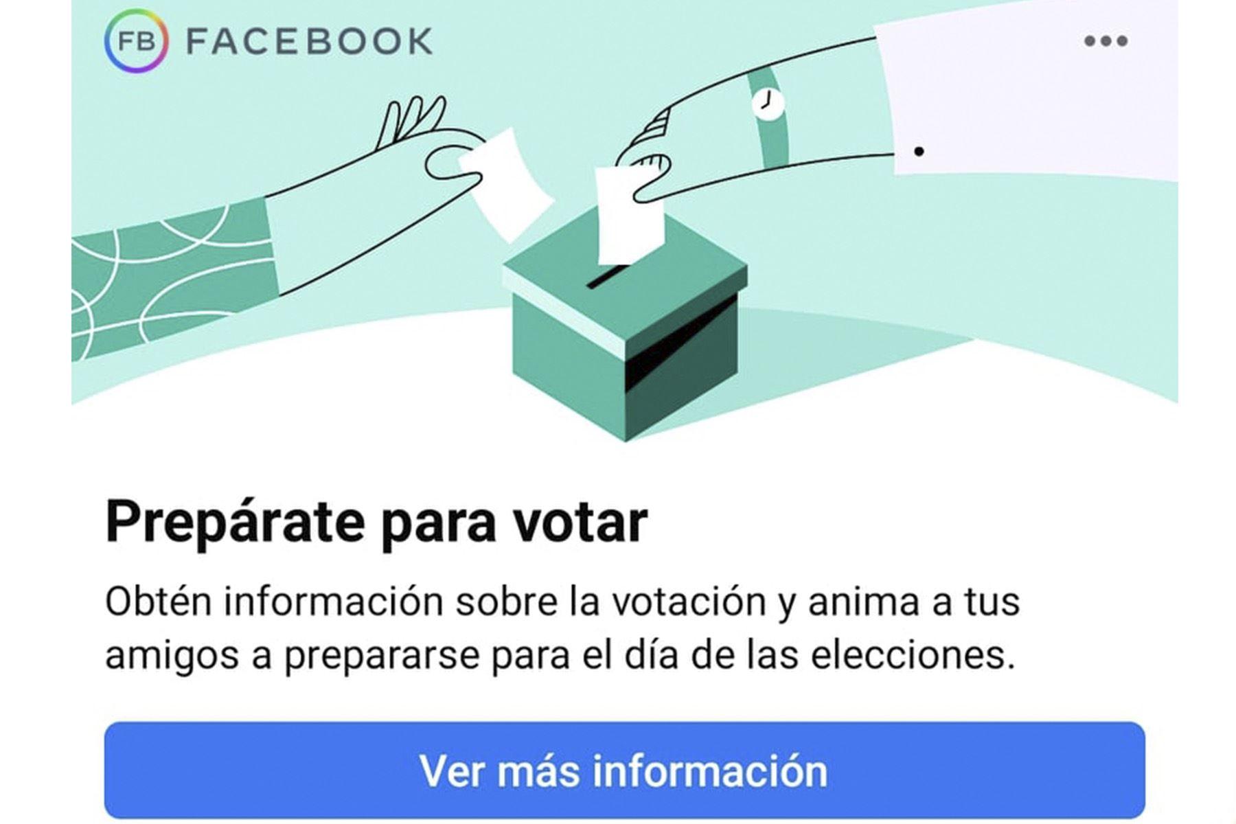 Facebook habilitó sección Prepárate para Votar en las Elecciones Generales  | Noticias | Agencia Peruana de Noticias Andina