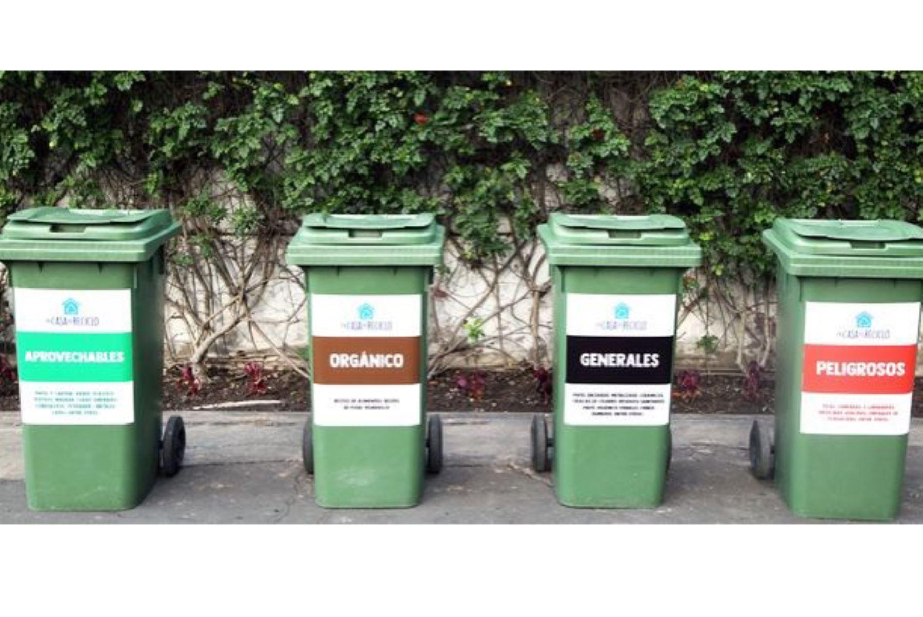 El código de colores para el almacenamiento de residuos sólidos permitirá hacer una segregación responsable de los residuos sólidos en el Perú. Foto: ANDINA/Difusión