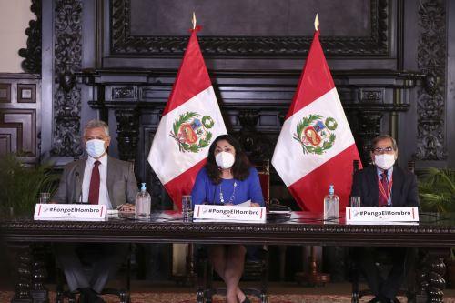 Presidenta del Consejo de Ministros brinda conferencia de prensa junto a titulares del Minsa y Mininter