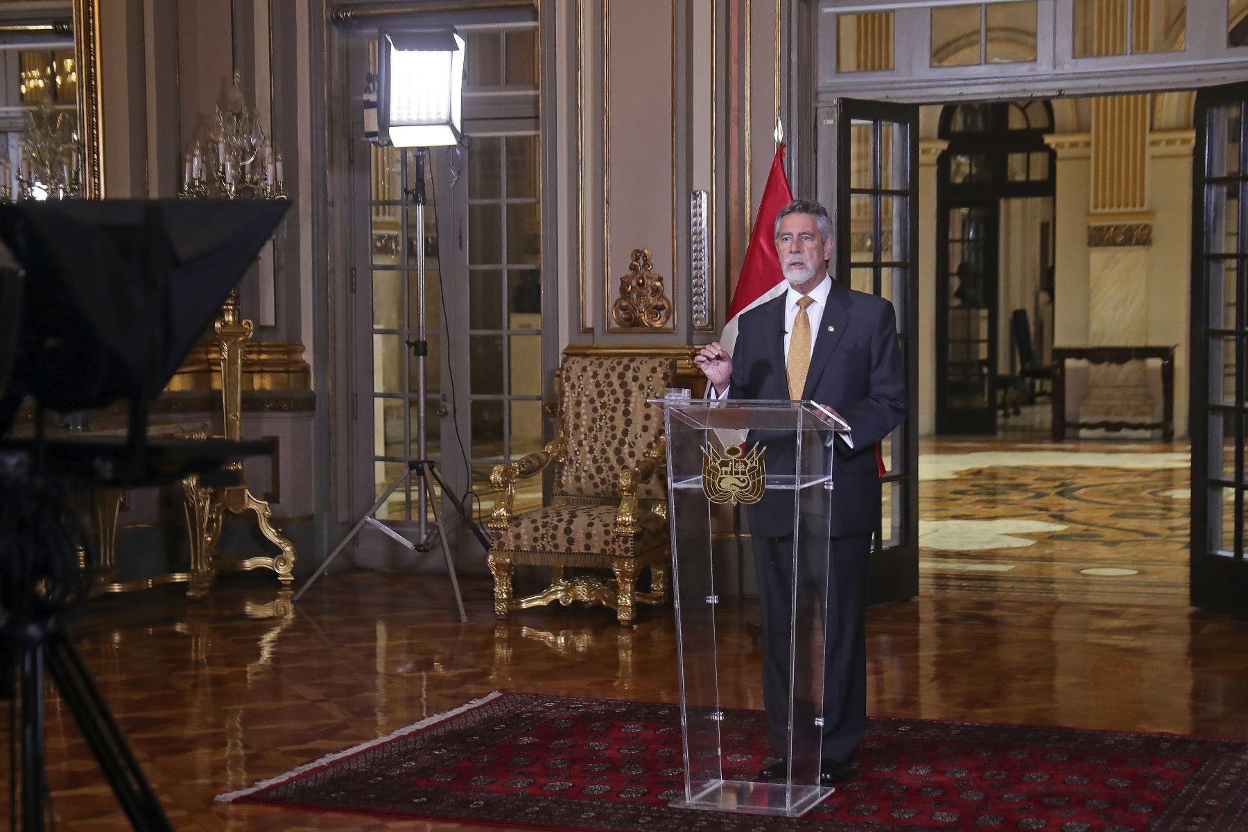 El presidente de la República, Francisco Sagasti, brinda mensaje a la Nación. Foto: ANDINA/Prensa Presidencia