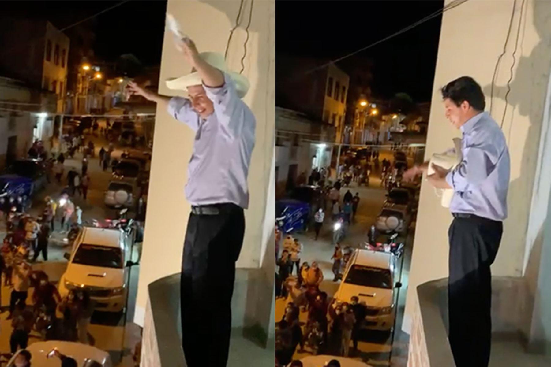 El aspirante al sillón presidencial Pedro Castillo obtuvo el 16.1 % de los votos de acuerdo con el flash a boca de urna de América TV/Ipsos Perú. Foto: Captura TV.