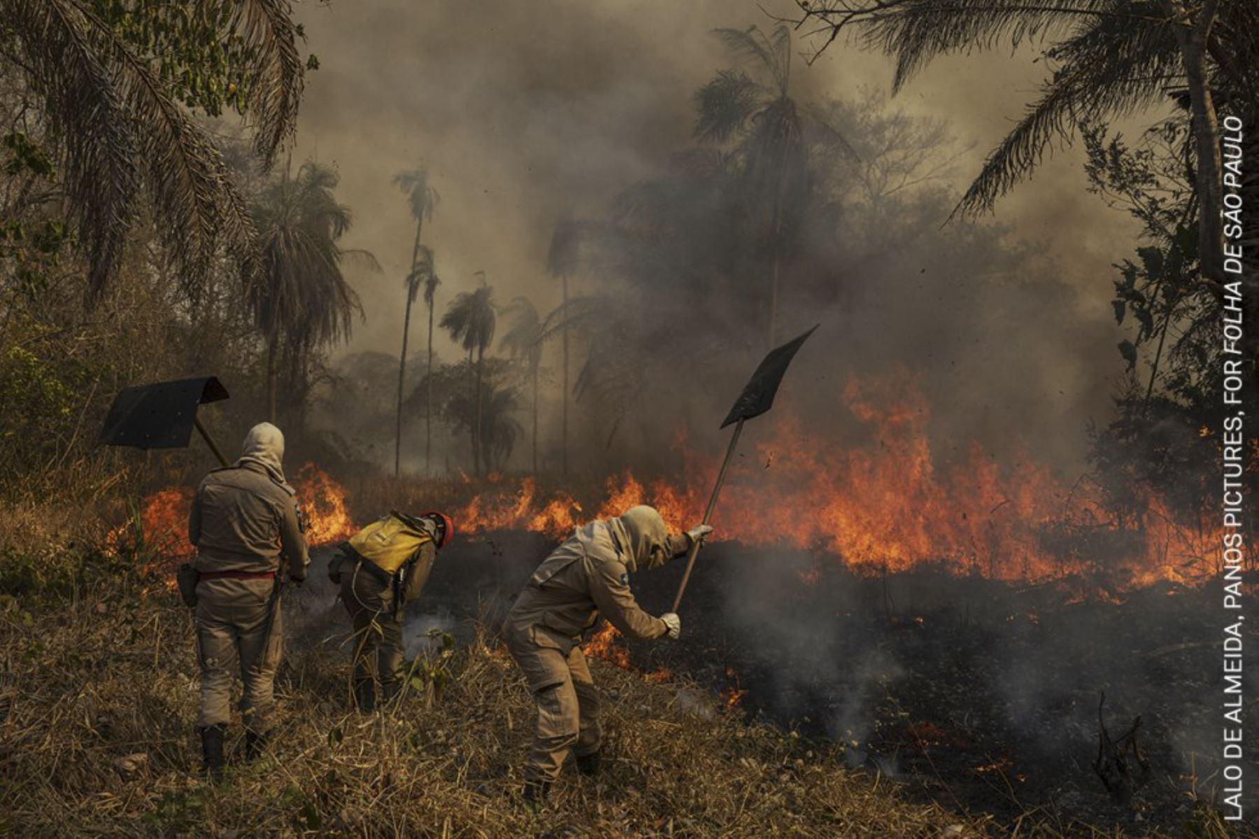Medio ambiente, serie: Pantanal en llamas. Bomberos combaten un incendio en la granja de Sao Francisco de Perigara, en Brasil. Foto: Lalo de Almeida