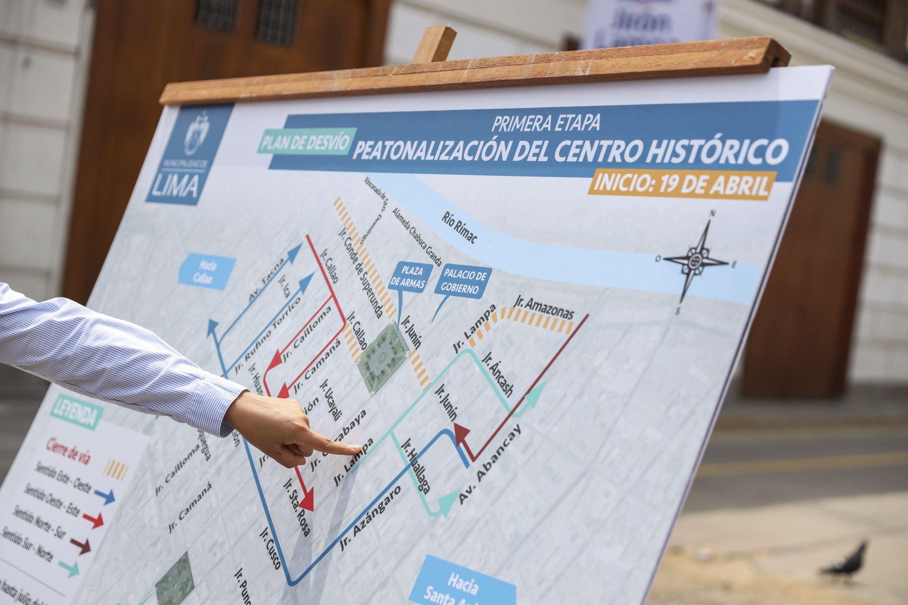 Municipalidad de Lima presentó plan de desvío por trabajos de peatonalización del Centro Histórico de Lima. Foto: ANDINA/Municipalidad de Lima