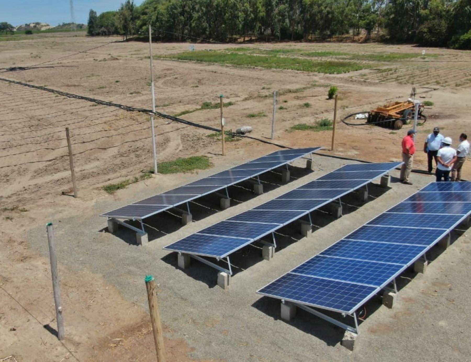Lambayeque innova en la agricultura y promueve uso de paneles solares en moderno sistema de riego tecnificado. ANDINA/Difusión