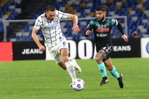 SSC Napoli empata 1 a 1 al Inter de Milán partido de fútbol de la Serie A italiana