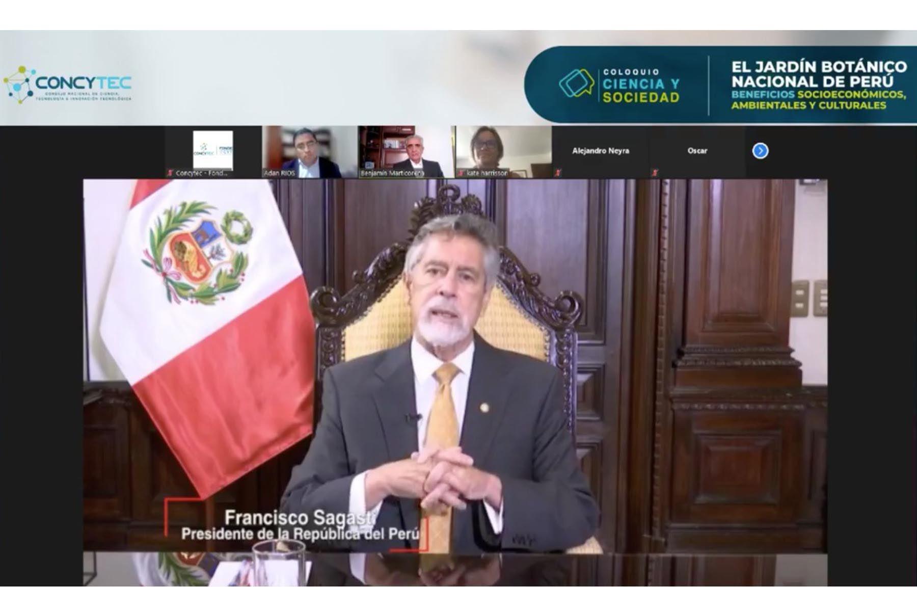 El Presidente de la República, Francisco Sagasti, participó en la inauguración del Coloquio Ciencia y Sociedad: El Jardín Botánico Nacional del Perú, evento completamente virtual y gratuito que va del 19 al 22 de abril de 2021.