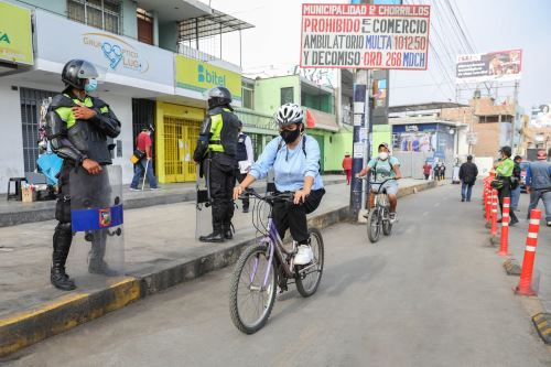Operativo de recuperación de ciclovía en la avenida Guardia Civil