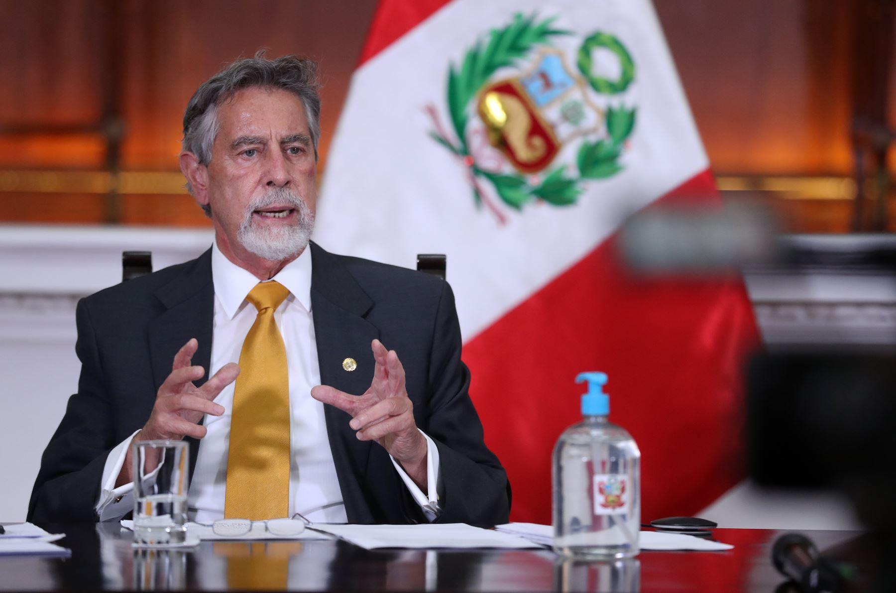 El presidente Francisco Sagasti, participó esta tarde de manera virtual, en la XXVII Cumbre Iberoamericana de Jefes de Estado y de Gobierno. Foto: ANDINA/ Prensa Presidencia