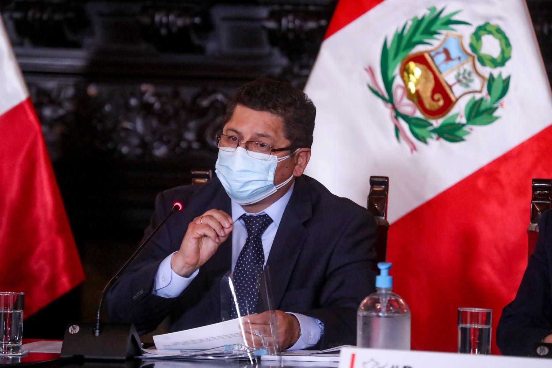 El  Ministro de Justicia, Eduardo Vega brinda nuevos reportes y acciones realizadas para hacer frente a la pandemia de la covid-19. Foto: ANDINA / PCM