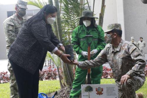 Ministra de Defensa participa del acto de plantación simbólica del árbol de la quina