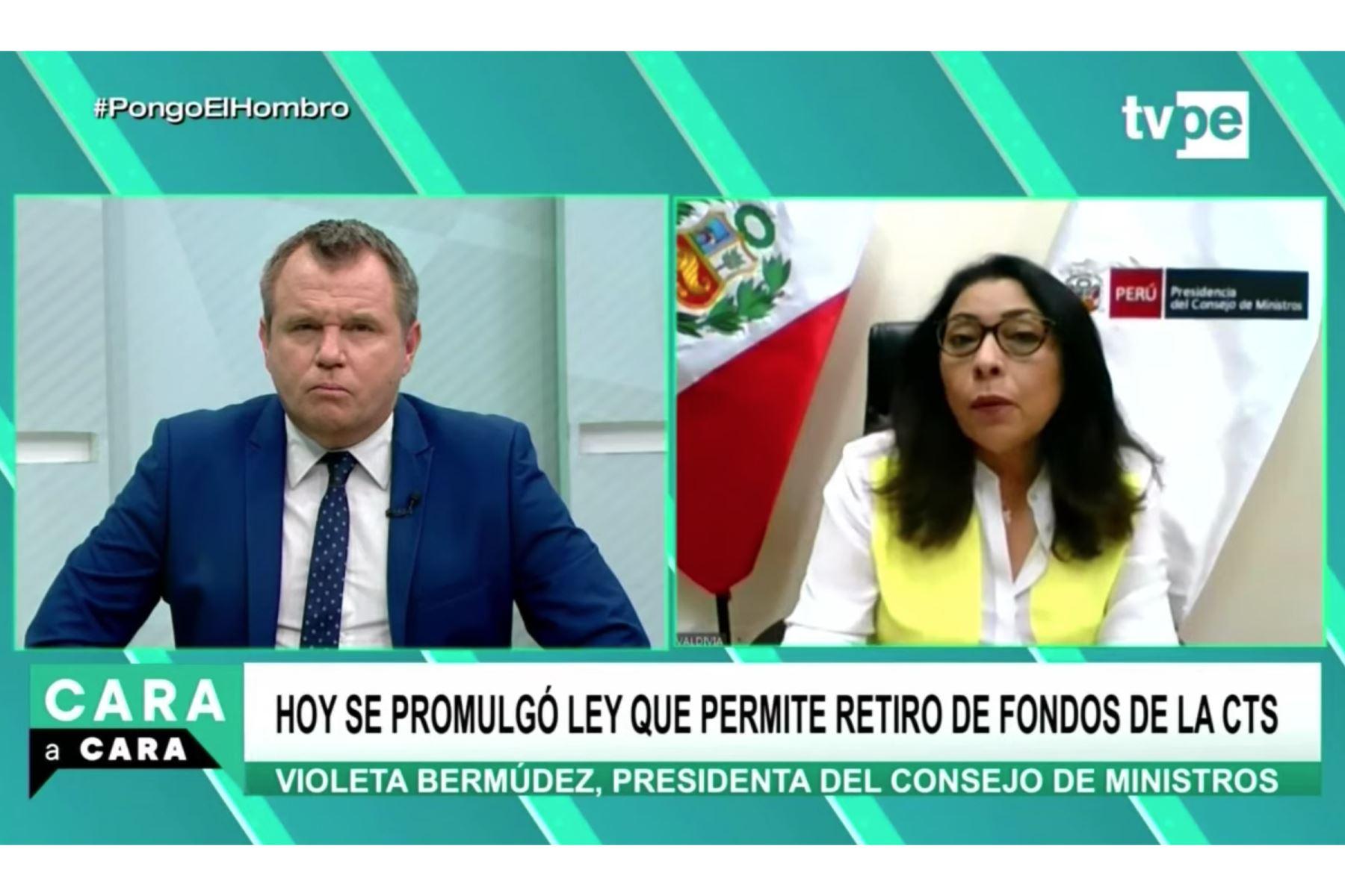La titular de la PCM, Violeta Bermúdez, dio una entrevista a TV Perú. Foto: ANDINA/difusión.
