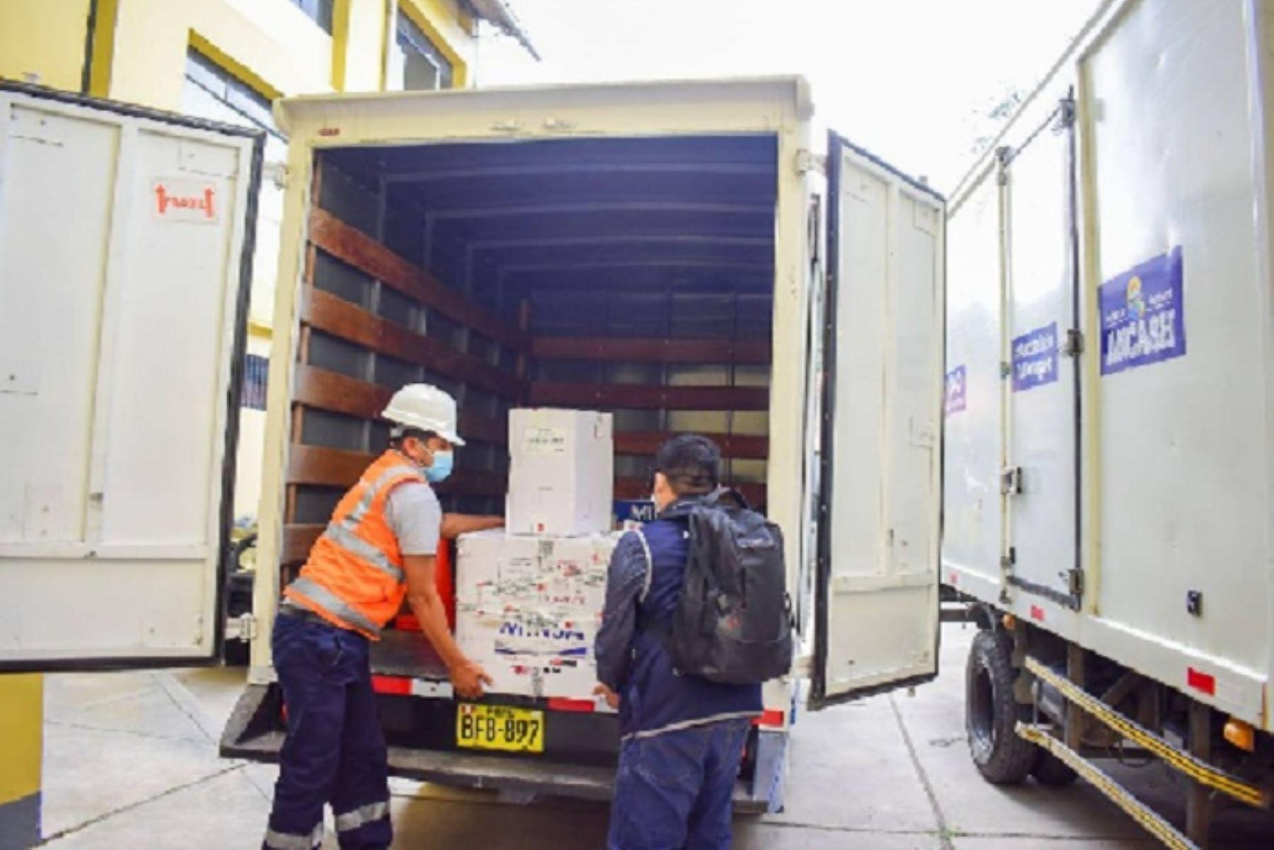 Las dosis de vacunas Pfizer contra el covid-19 llegaron a la sede de la Dirección Regional de Salud (Diresa), en la ciudad de Huaraz.