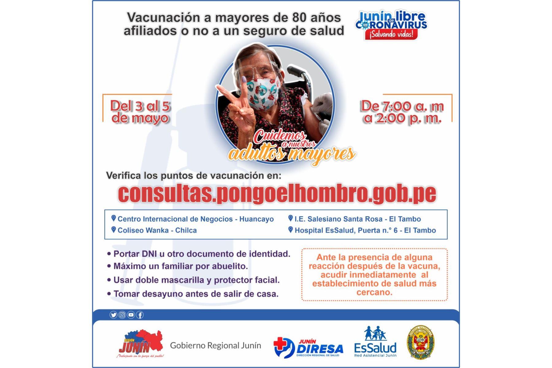 """Diresa, EsSalud y la Policía Nacional detallaron el proceso de la vacunación """"Yo pongo el hombro por Junín"""". Foto: ANDINA/difusión."""