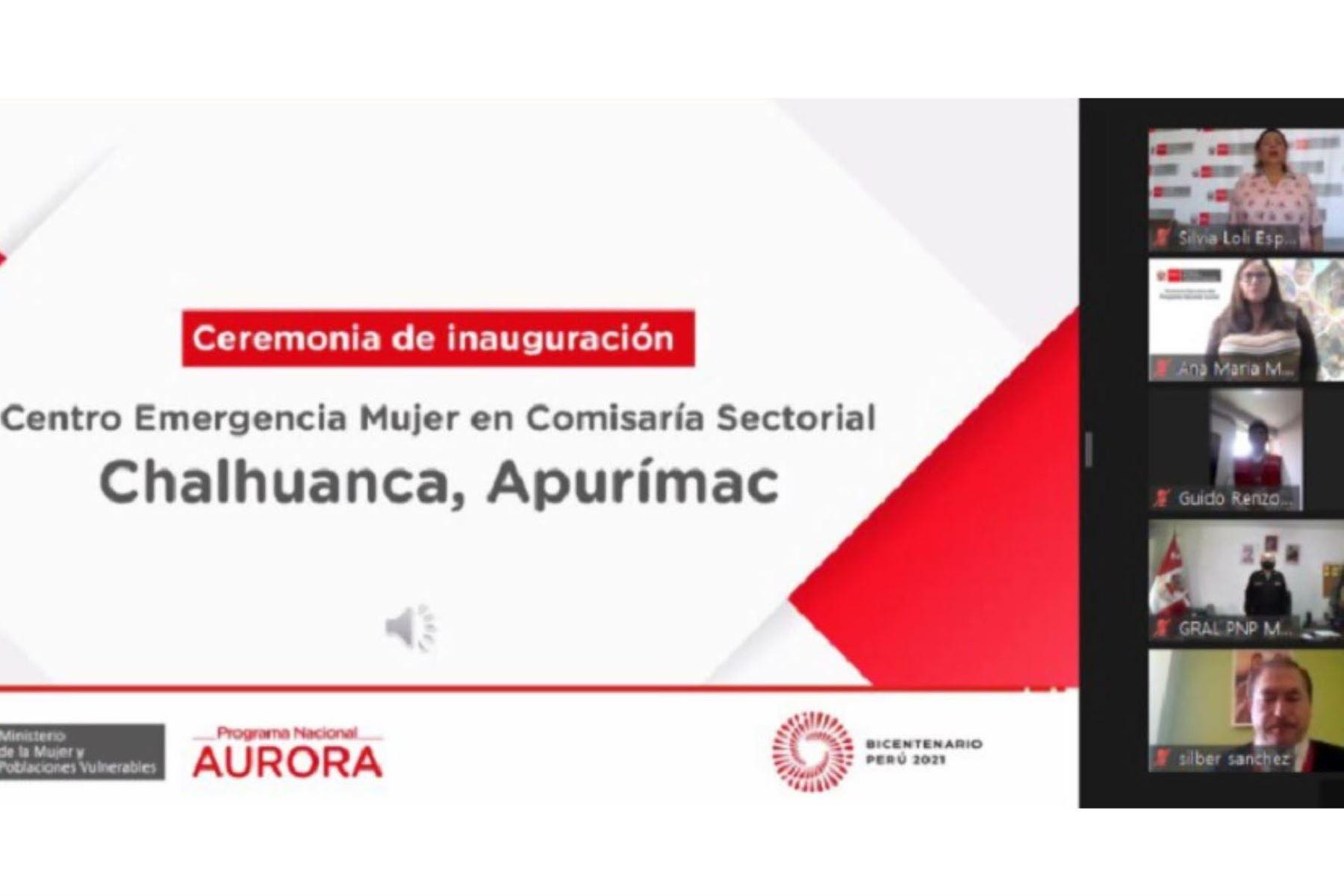 Los servicios gratuitos del Ministerio de la Mujer y Poblaciones Vulnerables siguen creciendo a nivel nacional con la inauguración del nuevo Centro Emergencia Mujer (CEM) en la Comisaría Sectorial Chalhuanca, en la provincia de Aymaraes en la región Apurímac.