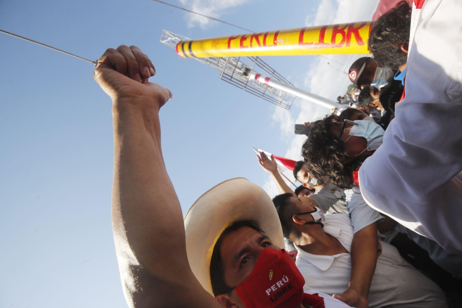 Mitin del candidato de Perú Libre, Pedro Castillo en la ciudad de Tarapoto, como parte de su agenda en la región San Martín. Foto: ANDINA/Juan Carlos Guzmán