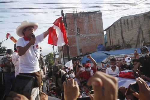 Candidato presidencial Pedro Castillo , en San Martín