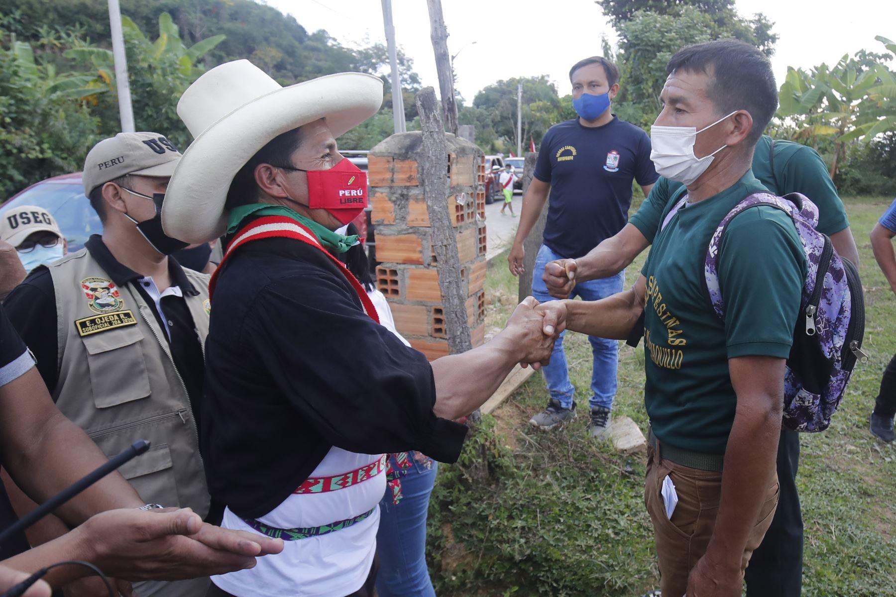 Mitin del candidato de Perú Libre, Pedro Castillo en la ciudad de Lamas, como parte de su agenda en la región San Martín. Foto: ANDINA/Juan Carlos Guzmán