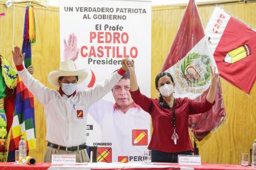Candidato presidencial Pedro Castillo , en Lima