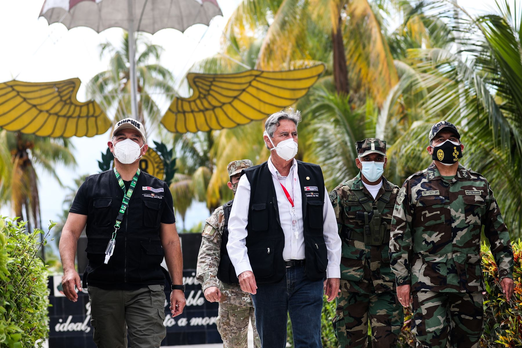 El presidente Francisco Sagasti, participa en la ceremonia de donación de 17 toneladas de explosivos por parte de la Sucamec a la Dirandro. Foto: Prensa/ Presidencia