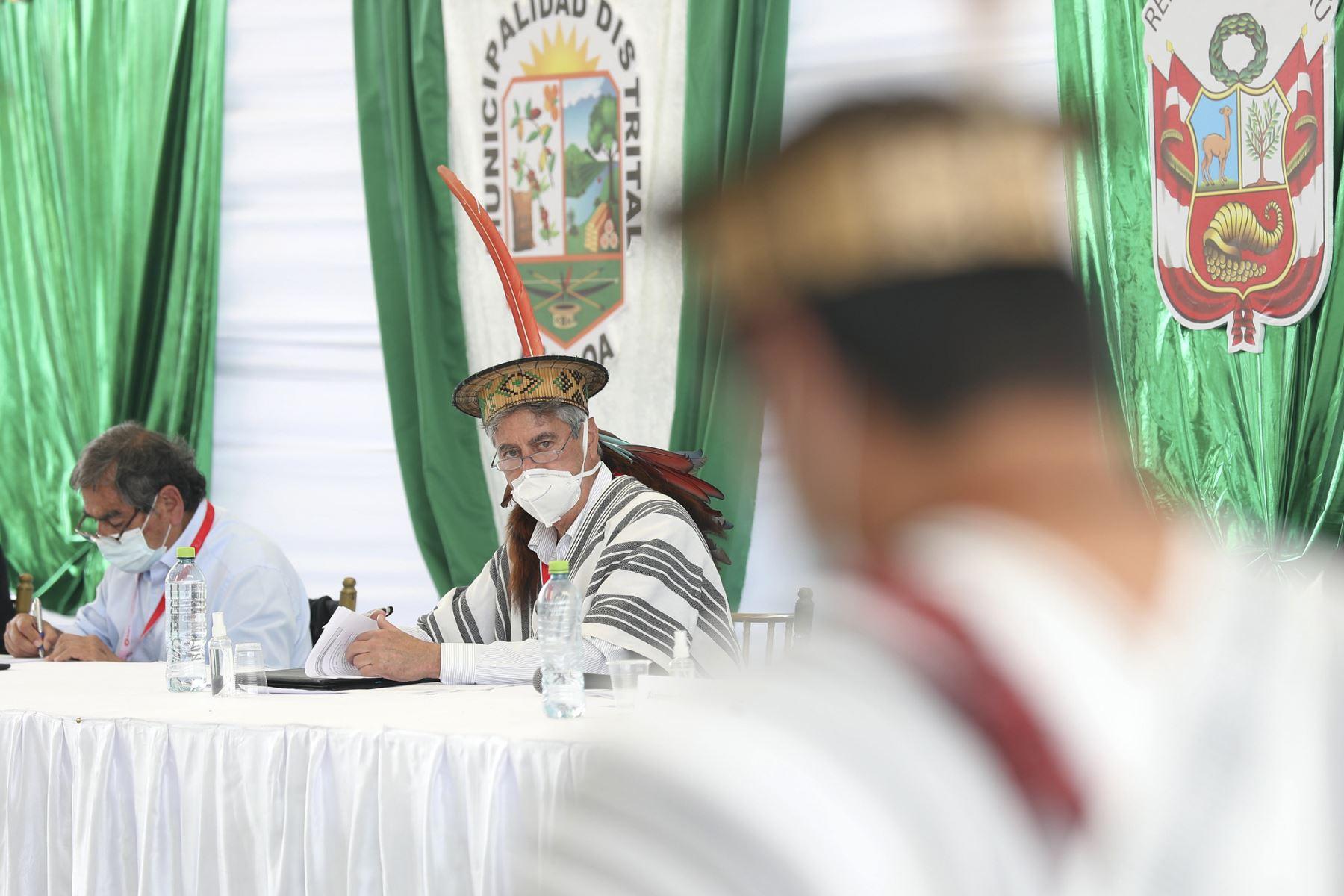 El presidente Francisco Sagasti visita la región Junín, y acompañado por seis ministros de Estado, lidera el diálogo entre el Ejecutivo y las organizaciones indígenas de la selva central. Foto: Foto: ANDINA/Prensa Presidencia