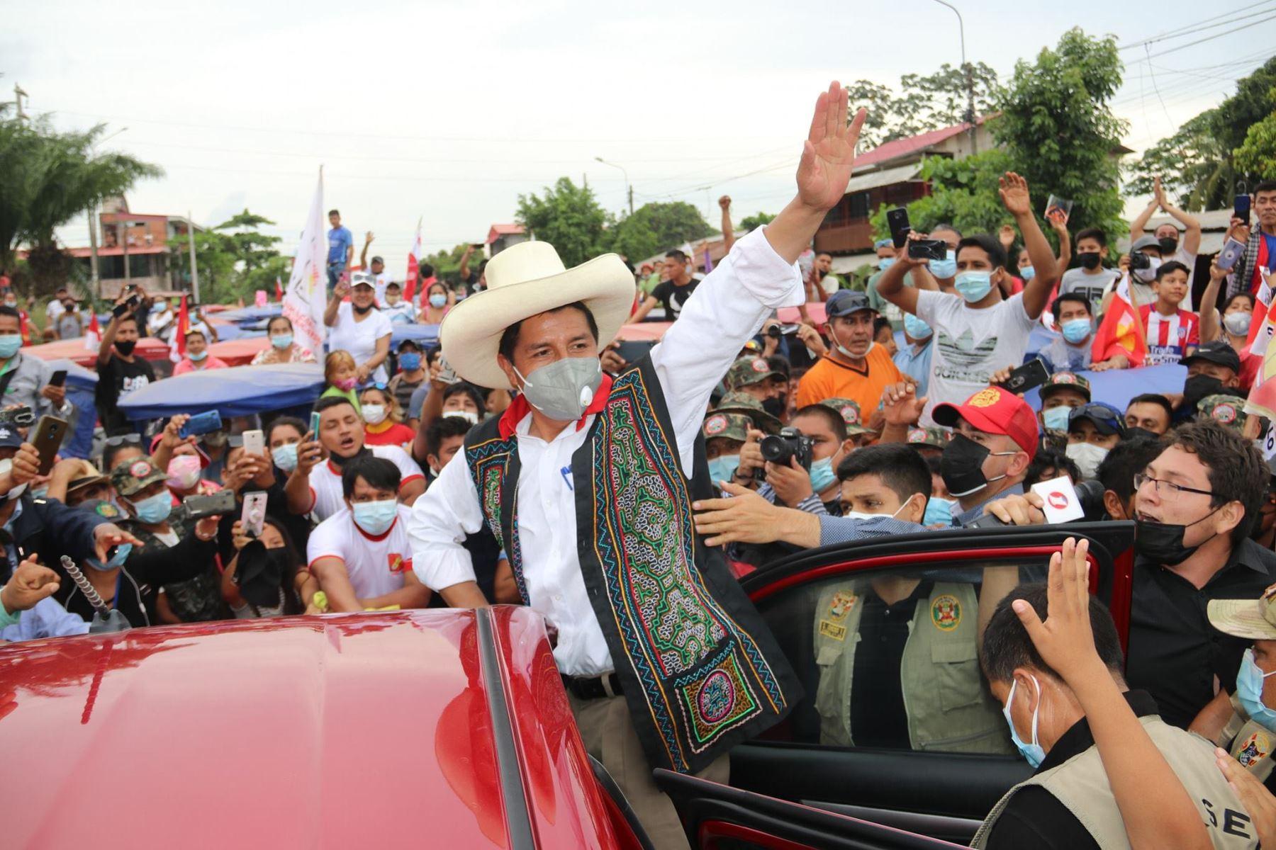 Pedro Castillo sigue recorriendo regiones amazónicas. Foto: ANDINA/difusión.