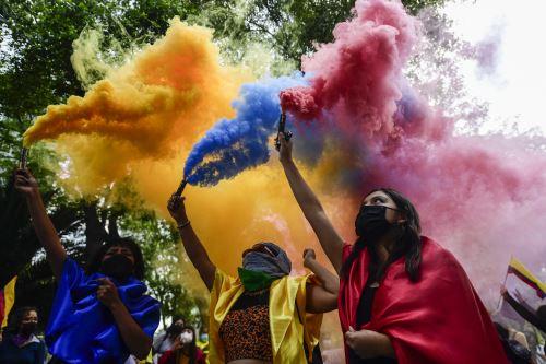 La ciudad colombiana sintetizó desde el primer día todo el desencanto social que se venía cocinando durante la pandemia y desde el último paro nacional de finales del 2019, que justamente se detuvo por el covid-19. Foto: AFP.
