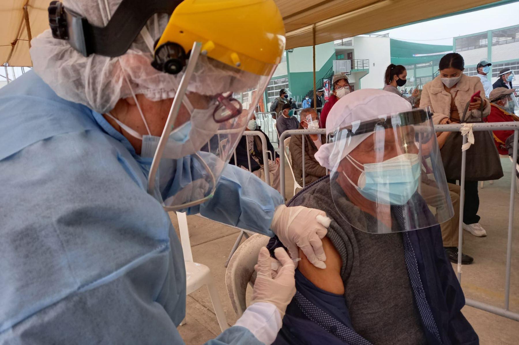 Ugarte explicó dentro de 8 o 10 días ya debería estar culminando la vacunación de los adultos mayores de 70 años, con lo cual el Gobierno, anotó, pasaría a vacunar a las personas mayores de 60 años. Foto: ANDINA/Difusión