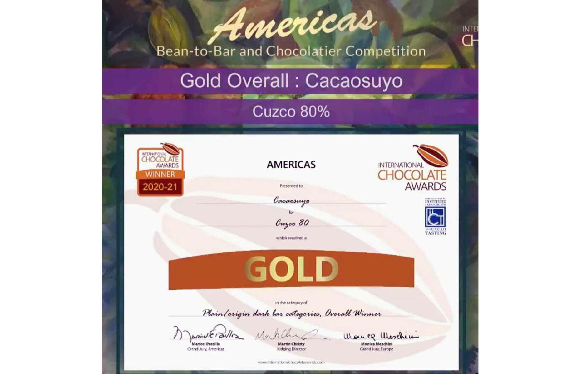 """Los premios más prestigiosos en el mundo de chocolates """"super premium"""" acaban de celebrar su final y el chocolate peruano se llevó los máximos laureles. Foto: ANDINA/Difusión"""