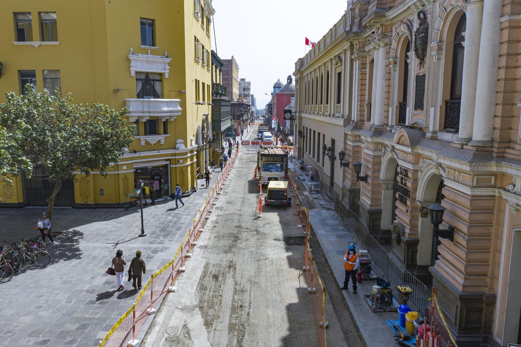 En la primera etapa del proyecto, que durará hasta julio, se intervienen los jirones Amazonas (cuadra 1), Lampa (cuadra 1), Conde de Superunda (cuadras 1, 2, 3 y 4) y Junín (cuadra 2). Foto: ANDINA/Municipalidad de Lima