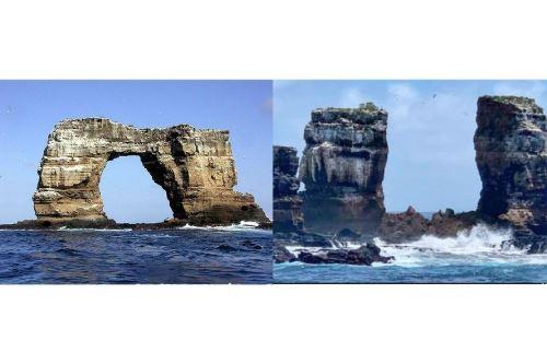 """La formación rocosa, considerada uno de los mejores lugares para practicar el buceo, cedió a """"consecuencia de la erosión natural"""", mencionó la autoridad. Foto: Ilustración con fotos del Internet"""