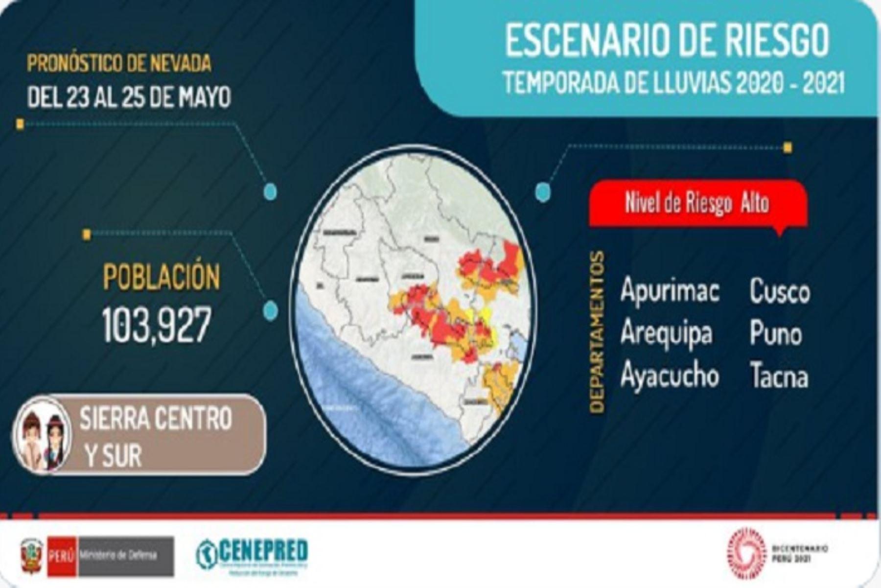 Los 90 distritos en riesgo pueden verse  afectados por deslizamientos, huaicos u otro tipo de movimientos de masa.